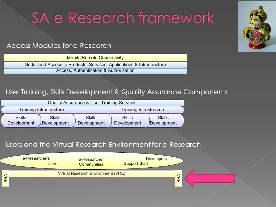 Access Modules for e-Research User Training, Skills Development & Quality Assurance Components Users and the Virtual Research Environment for e-Research