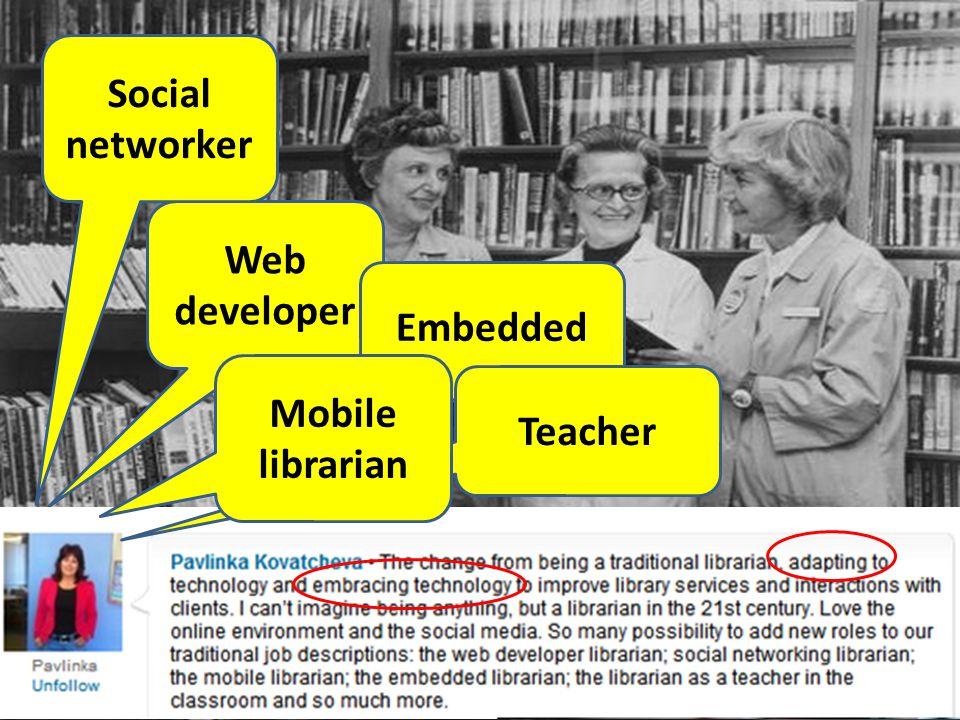 Web developer Social networker Embedded Teacher Mobile librarian