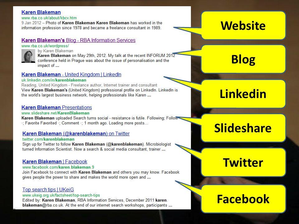 Website Blog Linkedin Slideshare Twitter Facebook