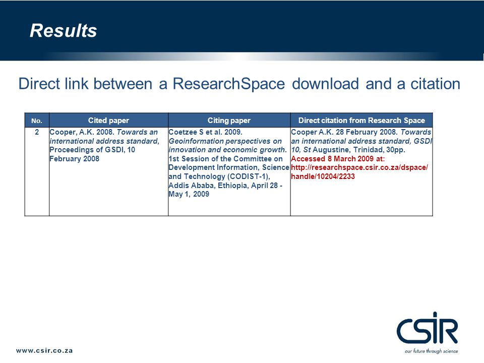 Direct link between a ResearchSpace download and a citation No.