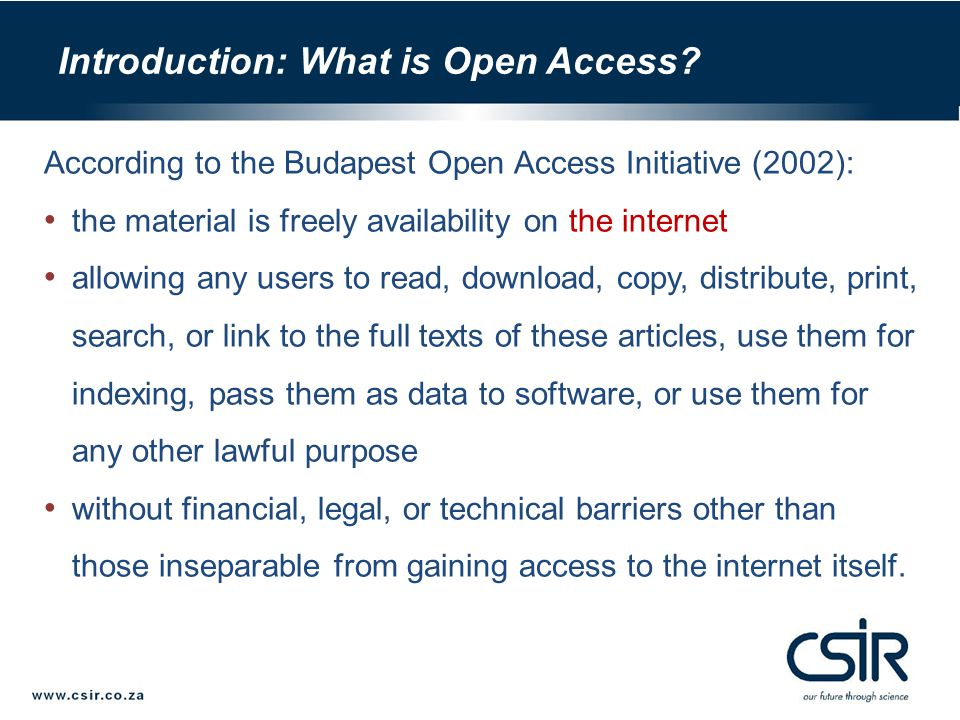 The impact of Open Access (http://opcit.eprints.org/oacitation-biblio.html) Open Access and citation count: a CSIR case study