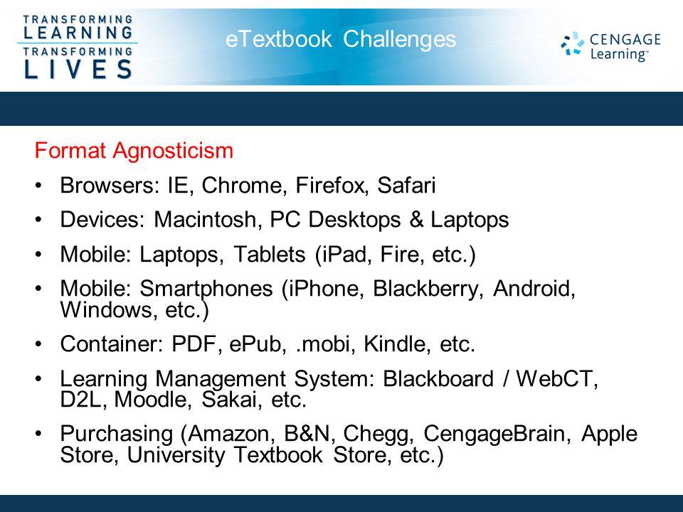 eTextbook Challenges Format Agnosticism Browsers: IE, Chrome, Firefox, Safari Devices: Macintosh, PC Desktops & Laptops Mobile: Laptops, Tablets (iPad, Fire, etc.) Mobile: Smartphones (iPhone, Blackberry, Android, Windows, etc.) Container: PDF, ePub,.mobi, Kindle, etc.