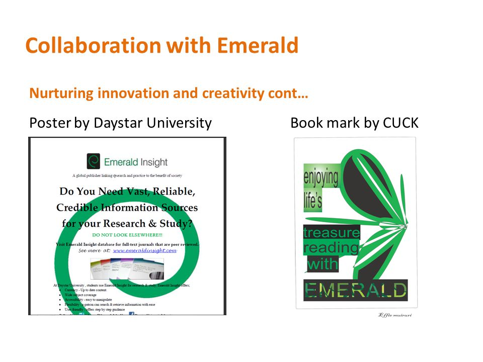 Collaboration with Emerald Nurturing innovation and creativity cont… Poster by Daystar University Book mark by CUCK