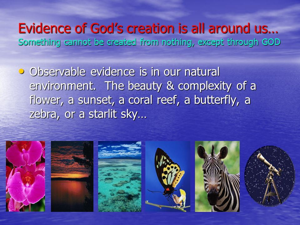Evidence of God's creation is all around us… Something cannot be created from nothing, except through GOD Observable evidence is in our natural environment.