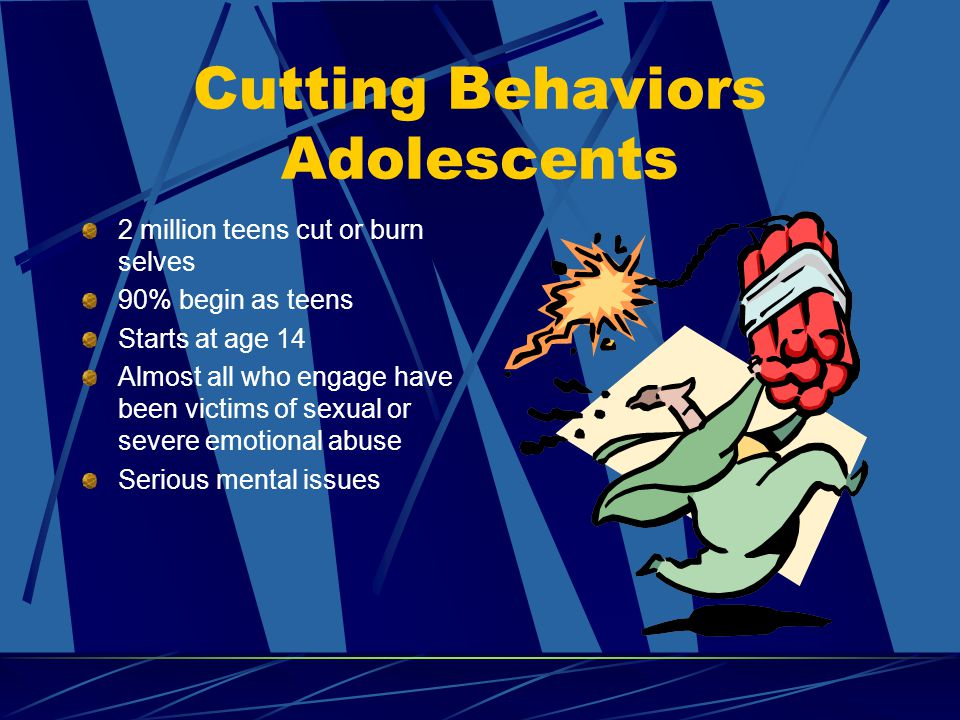 Cutting Behaviors Adolescents 2 million teens cut or burn selves 90% begin as teens Starts at age 14 Almost all who engage have been victims of sexual or severe emotional abuse Serious mental issues