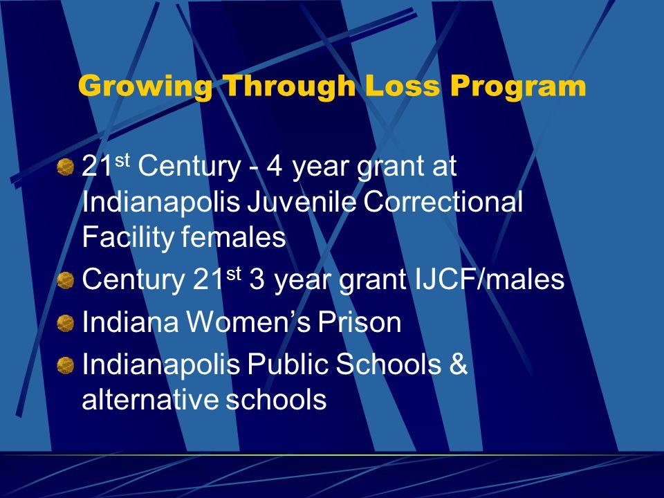 Growing Through Loss Program 21 st Century - 4 year grant at Indianapolis Juvenile Correctional Facility females Century 21 st 3 year grant IJCF/males