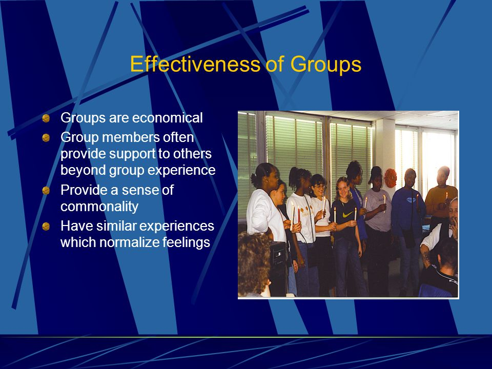 Effectiveness of Groups Groups are economical Group members often provide support to others beyond group experience Provide a sense of commonality Have similar experiences which normalize feelings