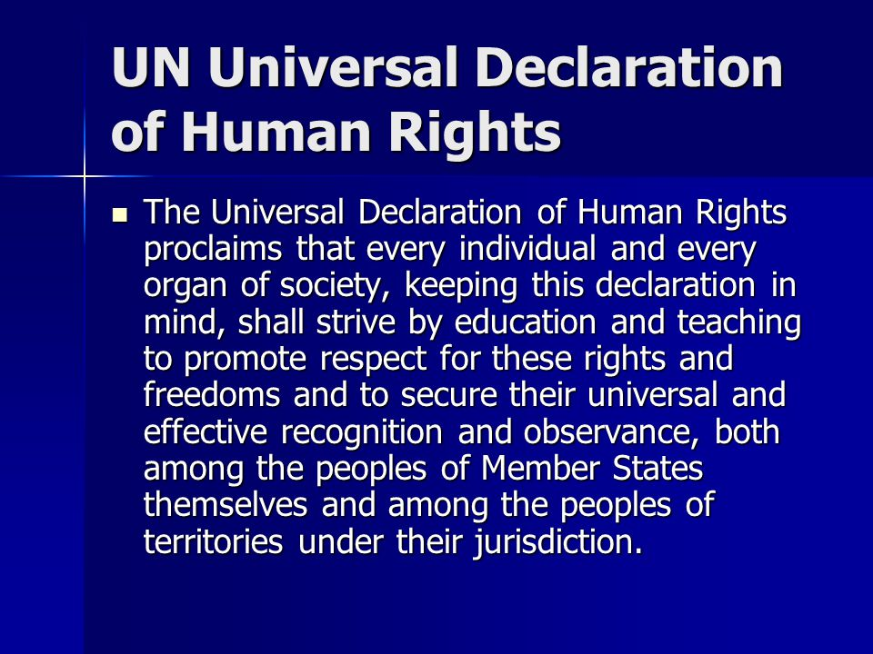 Human Rights Perspective The United Nations, in the Charter reaffirmed their faith in fundamental human rights, in the dignity and worth of the human person and in the equal rights of men and women and have determined to promote social progress and better standards of life in larger freedom.