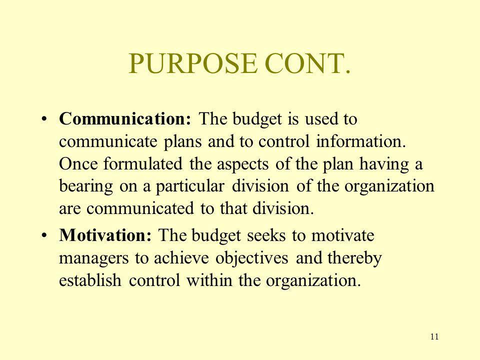 11 PURPOSE CONT. Communication: The budget is used to communicate plans and to control information.
