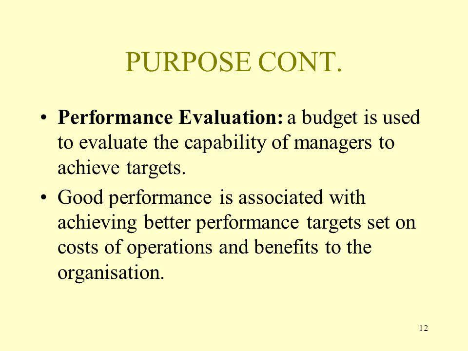 12 PURPOSE CONT. Performance Evaluation: a budget is used to evaluate the capability of managers to achieve targets. Good performance is associated wi