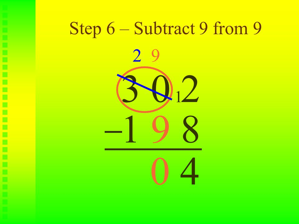 Step 6 – Subtract 9 from 9 3 0 2 1 9 8 2 9 1 40