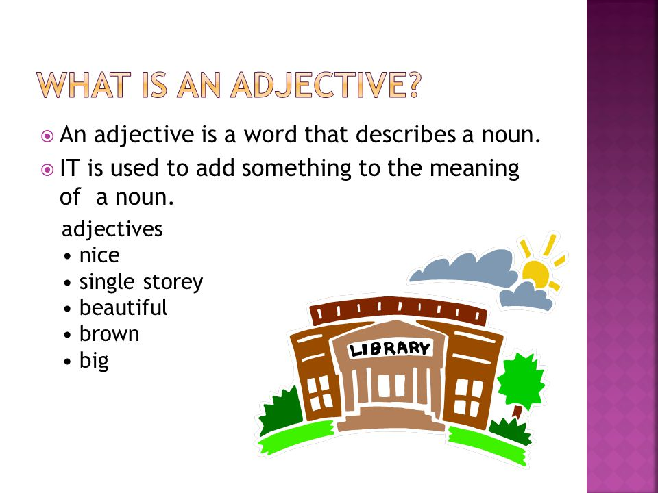  An adjective answers the following questions WHAT KIND .