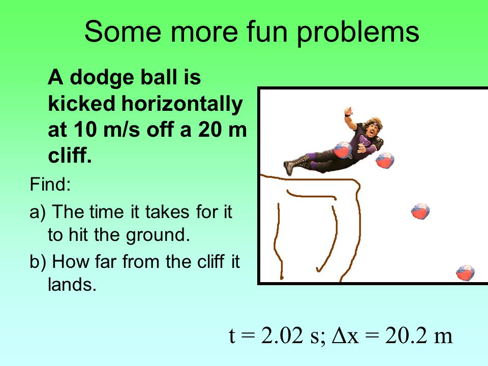 Some more fun problems A dodge ball is kicked horizontally at 10 m/s off a 20 m cliff.