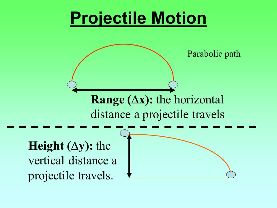 Projectile Motion Parabolic path Range (  x): the horizontal distance a projectile travels Height (  y): the vertical distance a projectile travels.
