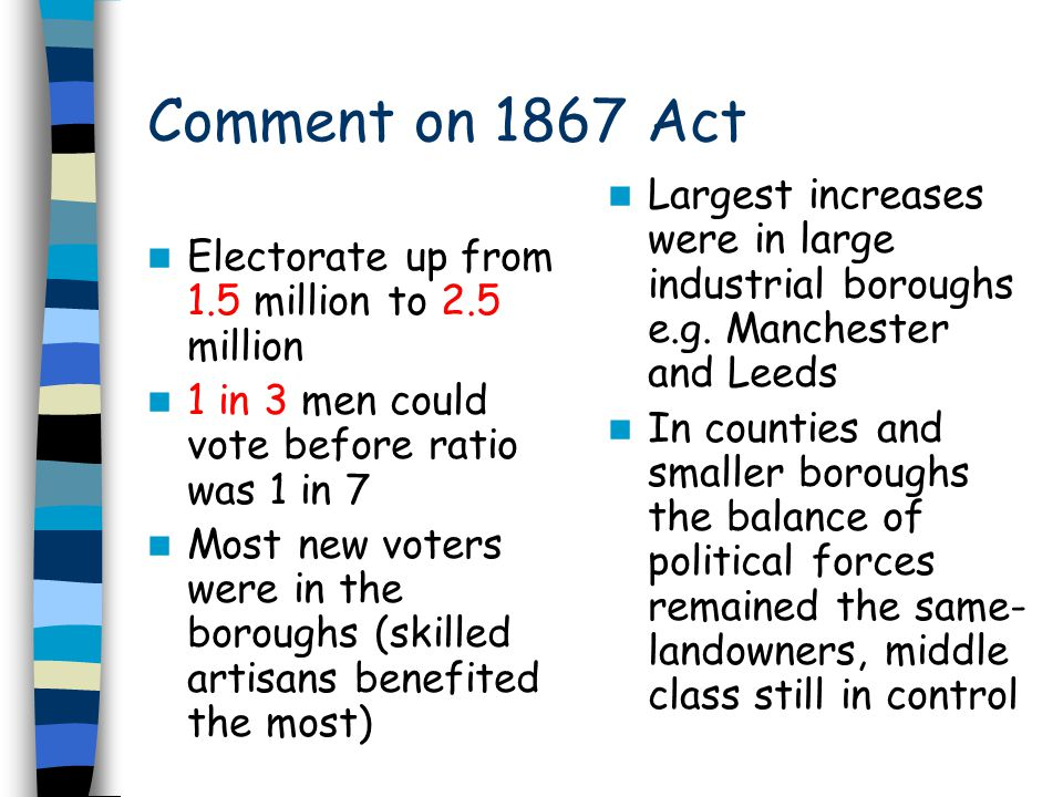 Comment on 1867 Act- step towards democracy Right to vote still based on property and its value- undemocratic MPs still unevenly distributed, with too many in the counties and small boroughs New industrial areas such as lowlands of Scotland seriously under-represented