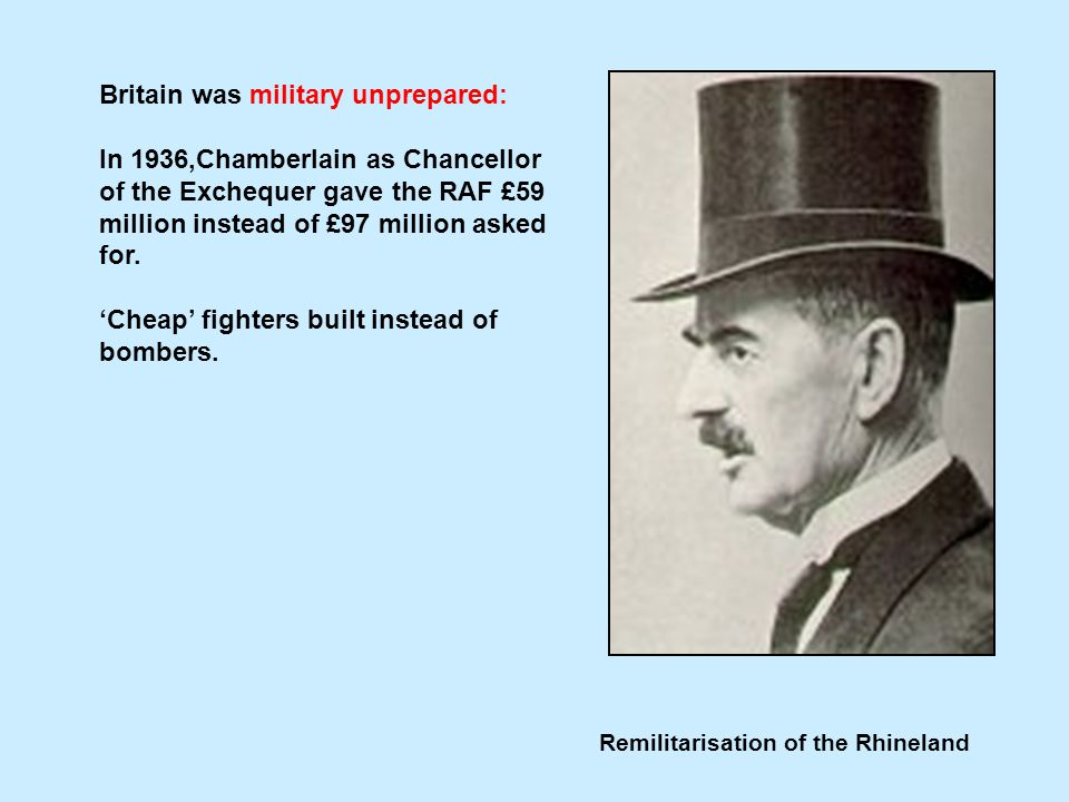 Remilitarisation of the Rhineland Britain was military unprepared: In 1936,Chamberlain as Chancellor of the Exchequer gave the RAF £59 million instead of £97 million asked for.