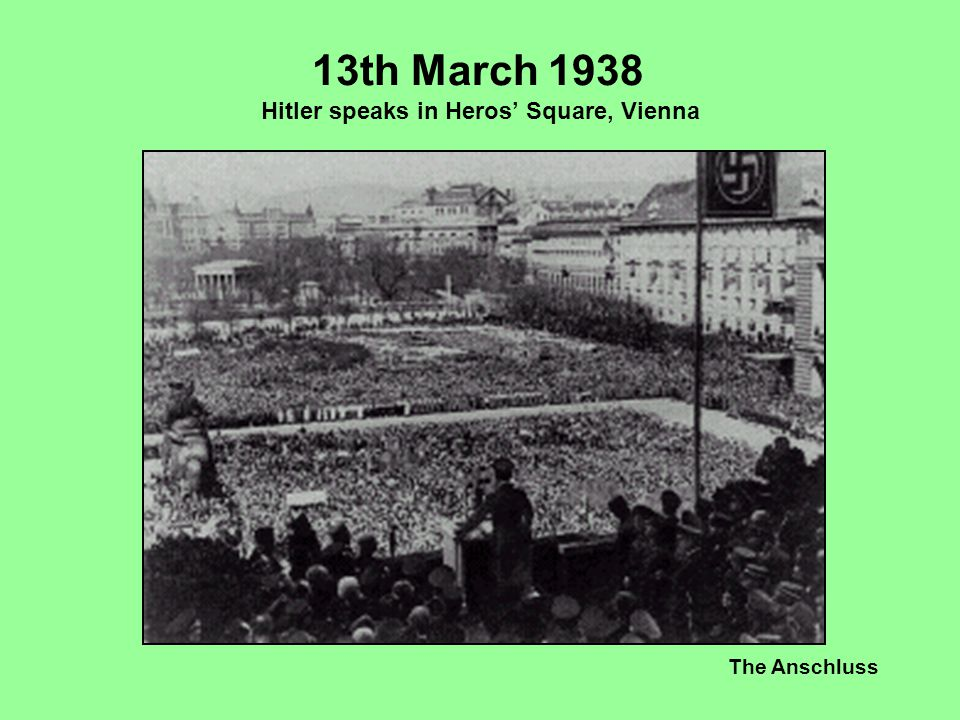 The Anschluss 13th March 1938 Hitler speaks in Heros' Square, Vienna