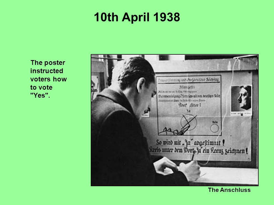 The Anschluss 10th April 1938 The poster instructed voters how to vote