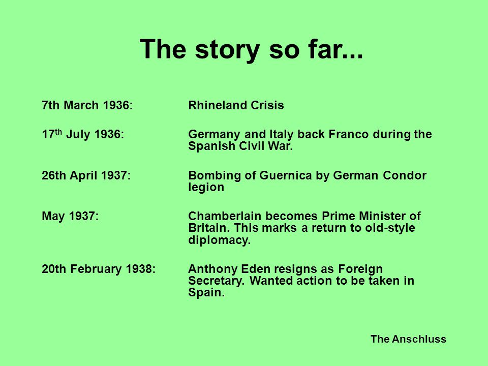 The Anschluss The story so far... 7th March 1936:Rhineland Crisis 17 th July 1936:Germany and Italy back Franco during the Spanish Civil War. 26th Apr