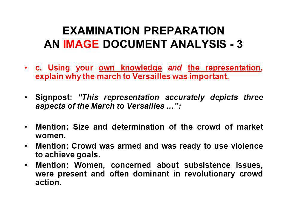 EXAMINATION PREPARATION AN IMAGE DOCUMENT ANALYSIS - 3 c.