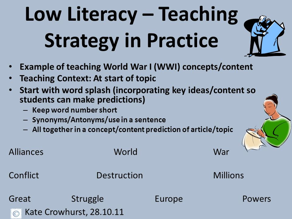 Low Literacy – Teaching Strategy in Practice Example of teaching World War I (WWI) concepts/content Teaching Context: At start of topic Start with word splash (incorporating key ideas/content so students can make predictions) – Keep word number short – Synonyms/Antonyms/use in a sentence – All together in a concept/content prediction of article/topic Alliances WorldWar ConflictDestructionMillions Great Struggle Europe Powers Kate Crowhurst, 28.10.11