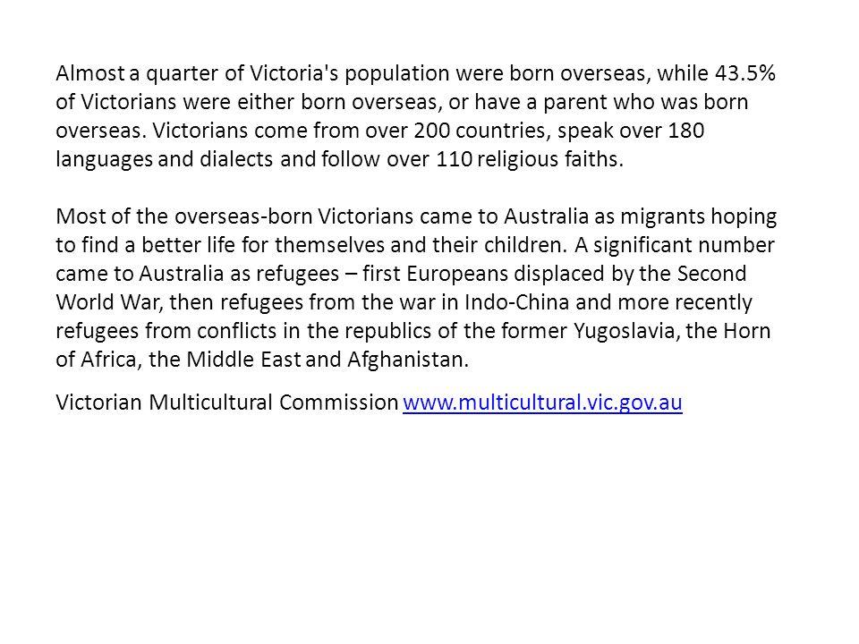Victoria's Population 2006 – 69.6% % of Victorians born in Australia 2011 – 68.5%