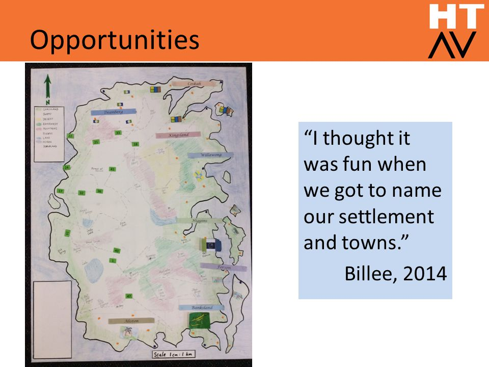 Opportunities I thought it was fun when we got to name our settlement and towns. Billee, 2014