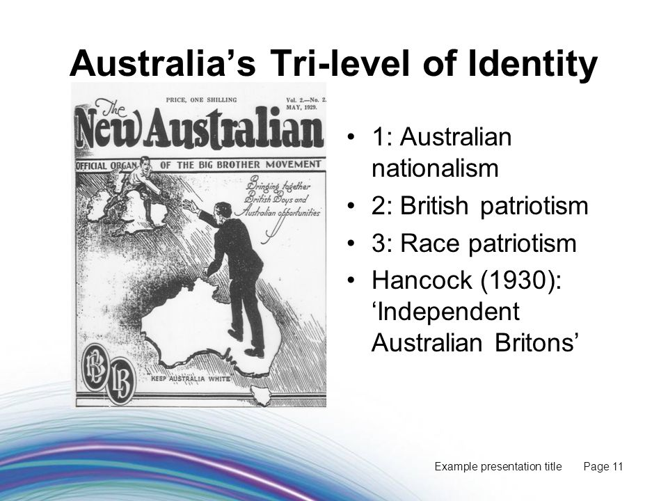Example presentation title Page 11 Australia's Tri-level of Identity 1: Australian nationalism 2: British patriotism 3: Race patriotism Hancock (1930): 'Independent Australian Britons'