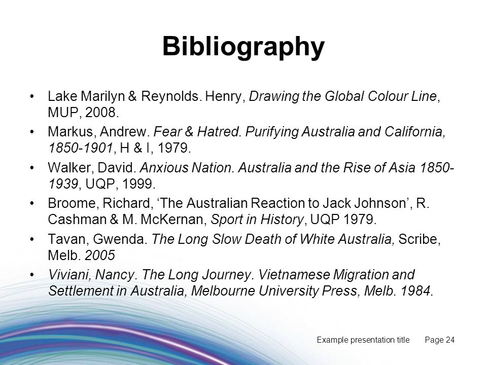 Example presentation title Page 24 Bibliography Lake Marilyn & Reynolds.