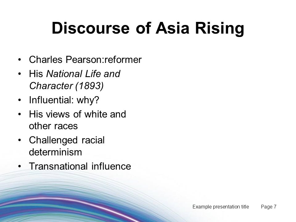 Example presentation title Page 18 Consequences of New Policy Al Grassby tours Asia to bury WAP Dept of Immigration reformed Lower annual targets: change minimised 1973 changes: evolutionary from 1956+ Acceptable responses to a changing context - sig.
