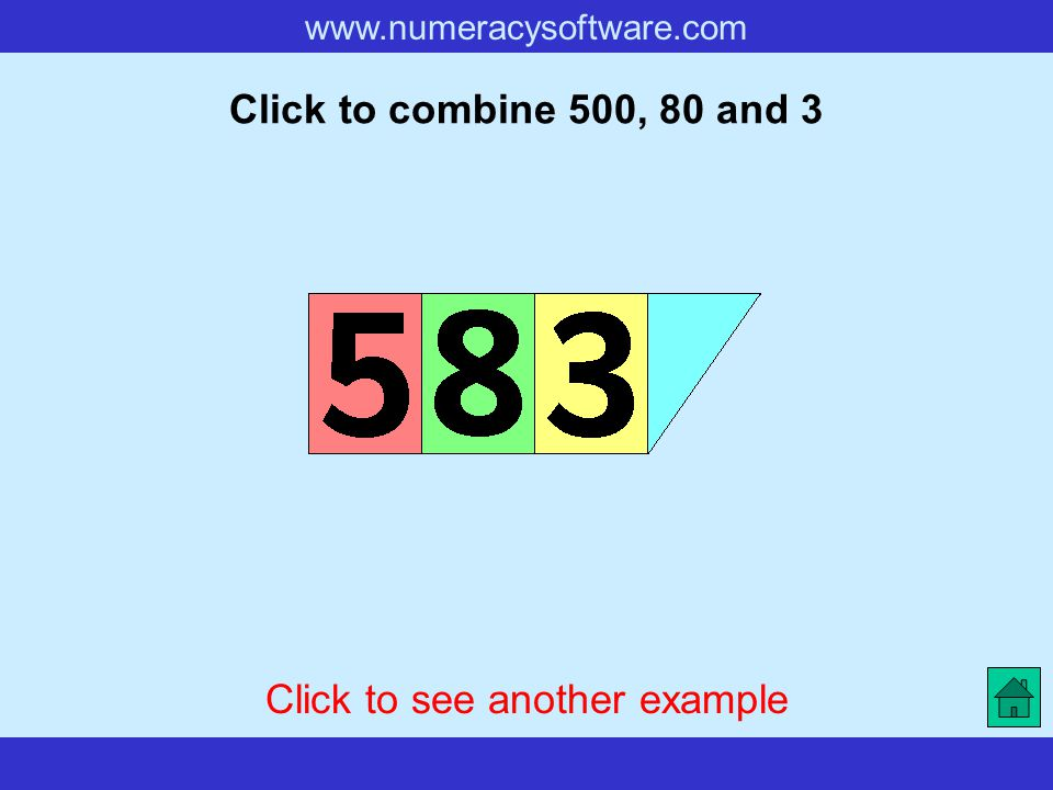 www.numeracysoftware.com Click to combine 500, 80 and 3 Click to see another example