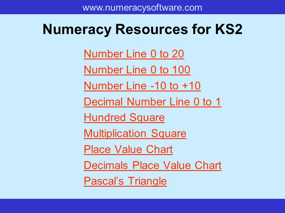 www.numeracysoftware.com Numeracy Resources for KS2 Number Line 0 to 20 Number Line 0 to 100 Number Line -10 to +10 Decimal Number Line 0 to 1 Hundred Square Multiplication Square Place Value Chart Decimals Place Value Chart Pascal's Triangle