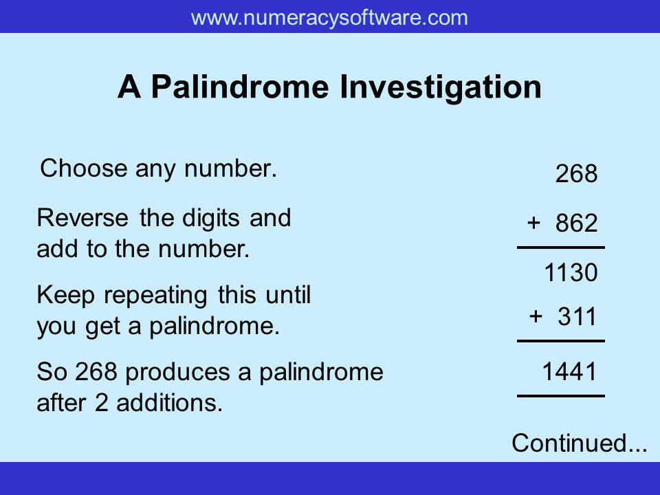 www.numeracysoftware.com A Palindrome Investigation Choose any number.