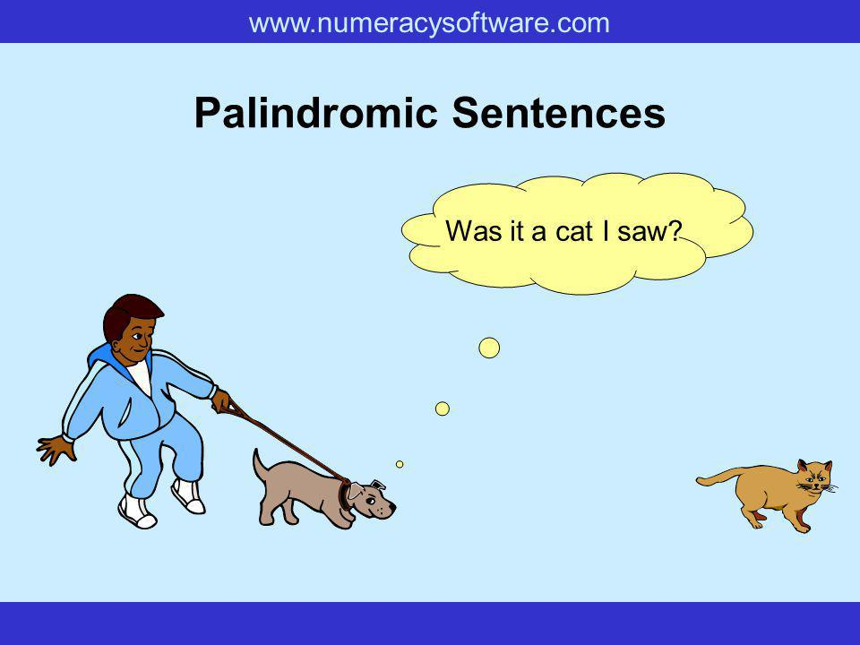 www.numeracysoftware.com Palindromic Sentences Was it a cat I saw?