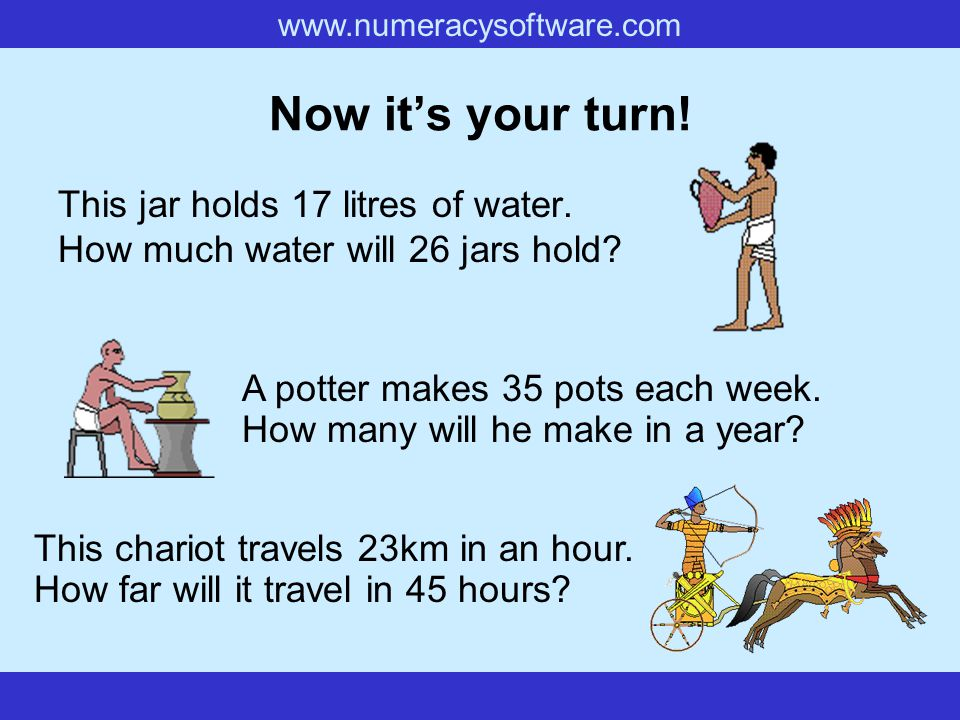 www.numeracysoftware.com Now it's your turn.This jar holds 17 litres of water.
