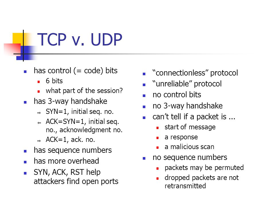 TCP v. UDP has control (= code) bits 6 bits what part of the session.