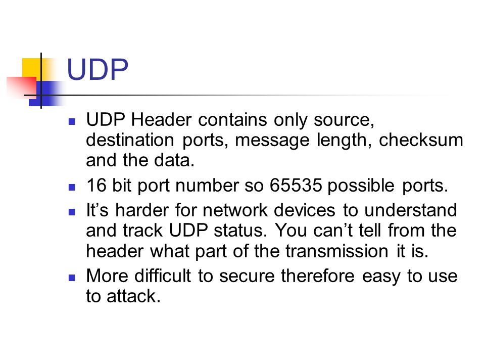UDP UDP Header contains only source, destination ports, message length, checksum and the data.