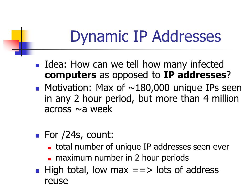 Dynamic IP Addresses Idea: How can we tell how many infected computers as opposed to IP addresses.