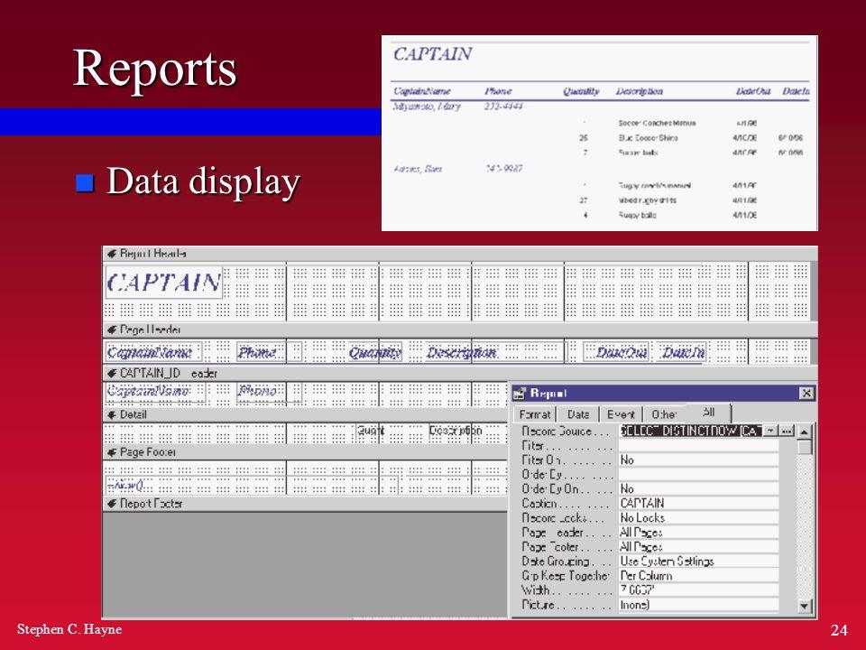 Stephen C. Hayne 24 Reports n Data display