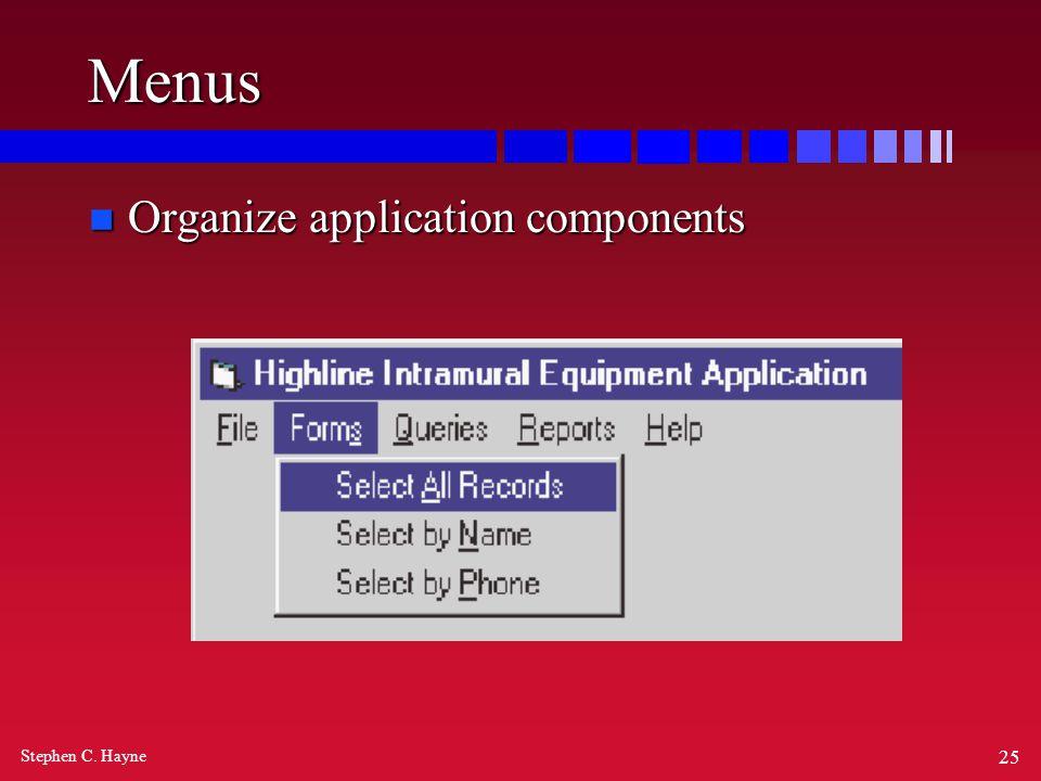 Stephen C. Hayne 25 Menus n Organize application components