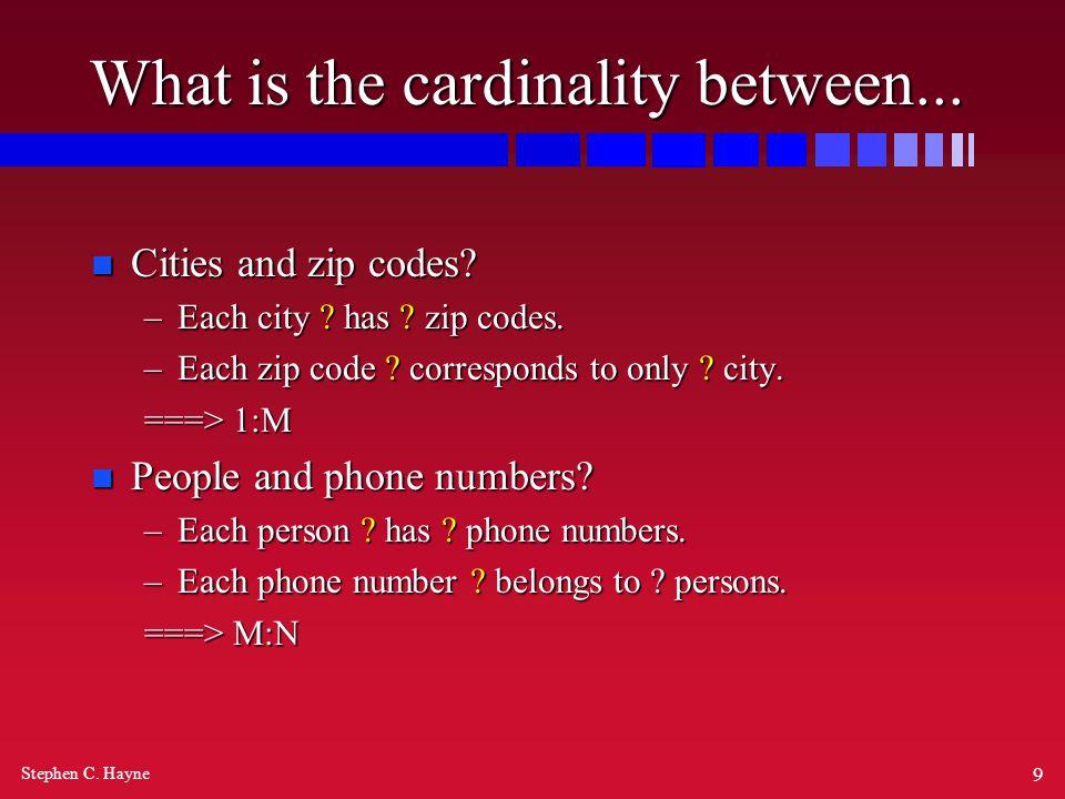 Stephen C. Hayne 9 What is the cardinality between...