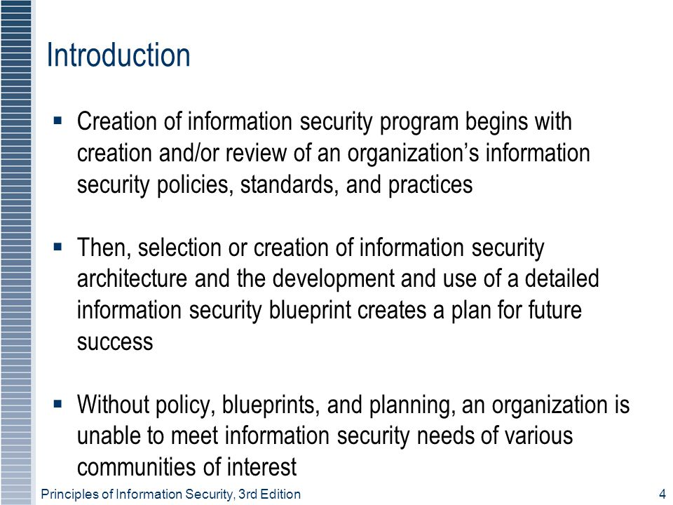 Principles of Information Security, 3rd Edition 35 Incident Detection  Most common occurrence is complaint about technology support, often delivered to help desk  Careful training needed to quickly identify and classify an incident  Once attack is properly identified, organization can respond