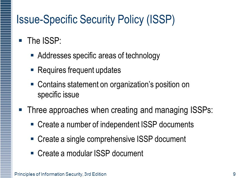 Principles of Information Security, 3rd Edition 30 Continuity Strategies (continued)  Before planning can actually begin, a team has to plan the effort and prepare resulting documents  Champion: high-level manager to support, promote, and endorse findings of project  Project manager: leads project and makes sure sound project planning process is used, a complete and useful project plan is developed, and project resources are prudently managed  Team members: should be managers, or their representatives, from various communities of interest: business, IT, and information security