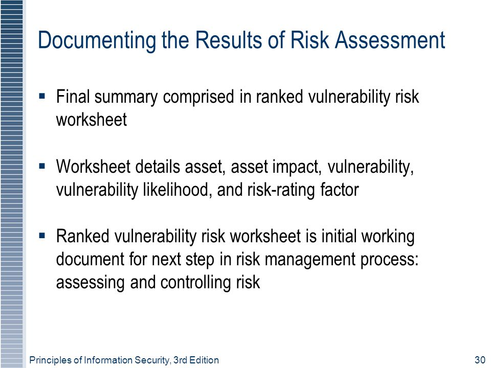 Principles of Information Security, 3rd Edition30 Documenting the Results of Risk Assessment  Final summary comprised in ranked vulnerability risk worksheet  Worksheet details asset, asset impact, vulnerability, vulnerability likelihood, and risk-rating factor  Ranked vulnerability risk worksheet is initial working document for next step in risk management process: assessing and controlling risk