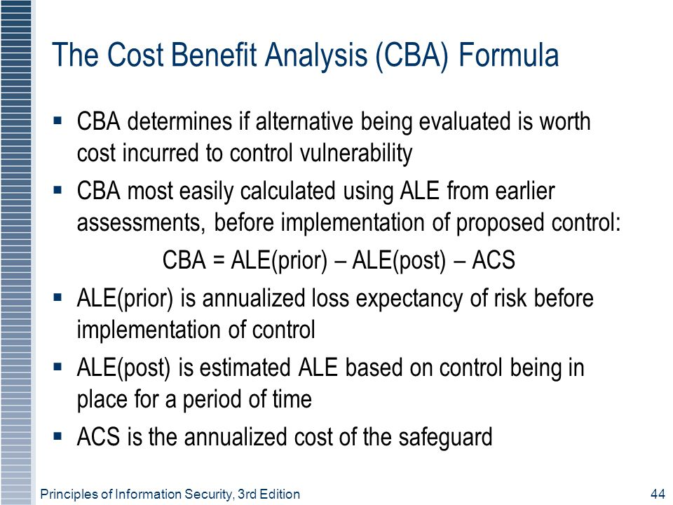 Principles of Information Security, 3rd Edition44 The Cost Benefit Analysis (CBA) Formula  CBA determines if alternative being evaluated is worth cost incurred to control vulnerability  CBA most easily calculated using ALE from earlier assessments, before implementation of proposed control: CBA = ALE(prior) – ALE(post) – ACS  ALE(prior) is annualized loss expectancy of risk before implementation of control  ALE(post) is estimated ALE based on control being in place for a period of time  ACS is the annualized cost of the safeguard