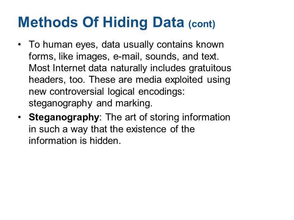 Methods Of Hiding Data (cont) To human eyes, data usually contains known forms, like images, e-mail, sounds, and text. Most Internet data naturally in