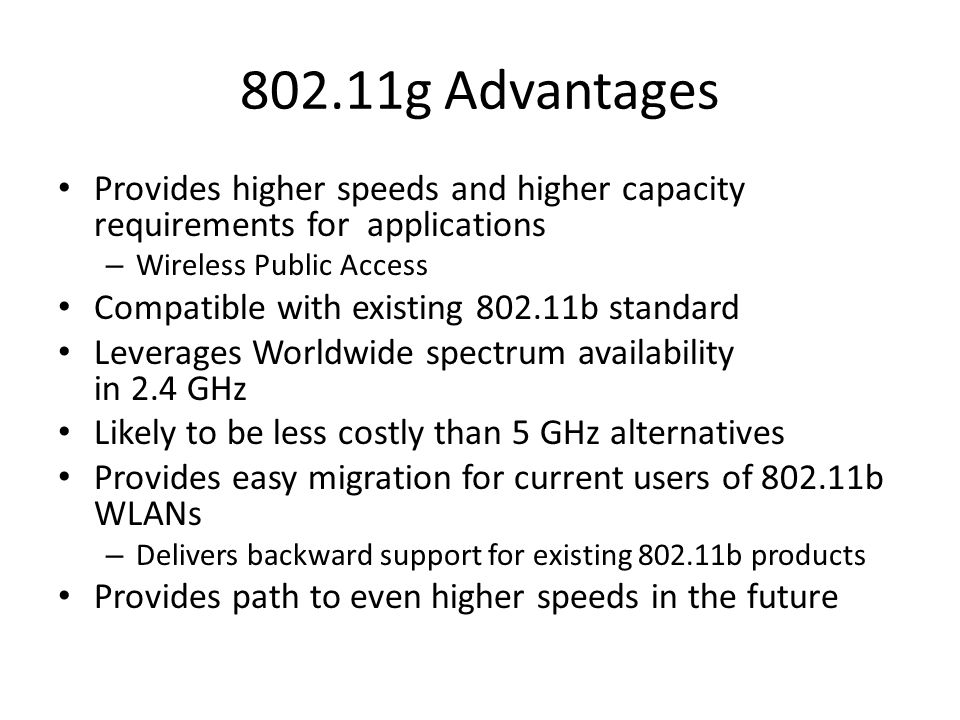 802.11e Introduces Quality of Service Also know as P802.11 TGe Purpose: – To enhance the 802.11 Medium Access Control (MAC) to improve and manage Quality of Service (QoS) Cannot be supported in current chip design Requires new radio chips – Can do basic QoS in MAC layer