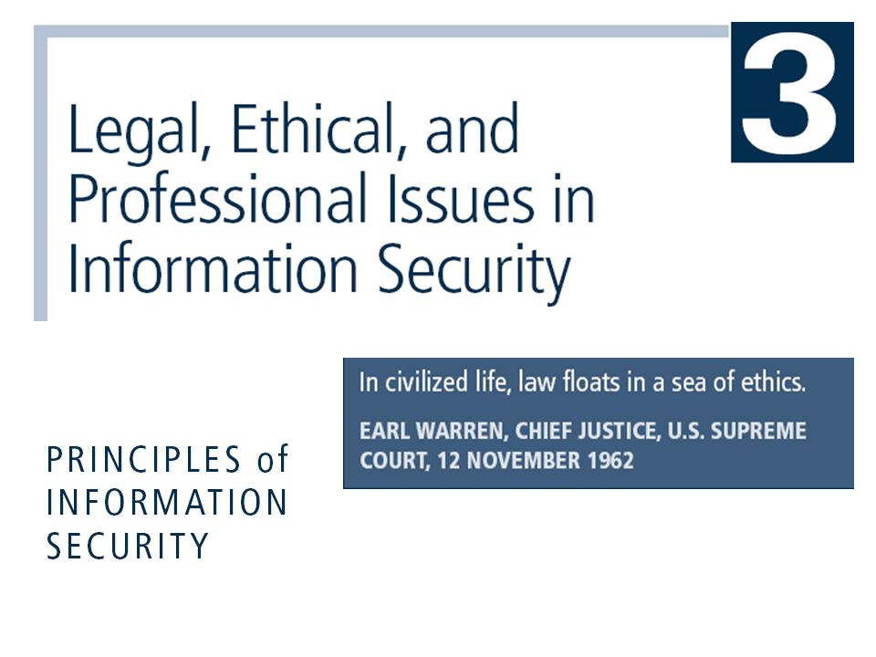Principles of Information Security, 3rd Edition22 European Council Cyber-Crime Convention  Establishes international task force overseeing Internet security functions for standardized international technology laws  Attempts to improve effectiveness of international investigations into breaches of technology law  Well received by intellectual property rights advocates due to emphasis on copyright infringement prosecution  Lacks realistic provisions for enforcement