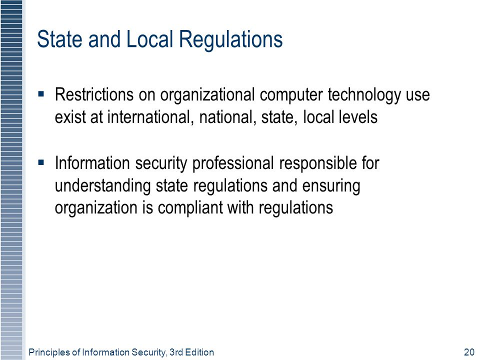 Principles of Information Security, 3rd Edition20 State and Local Regulations  Restrictions on organizational computer technology use exist at international, national, state, local levels  Information security professional responsible for understanding state regulations and ensuring organization is compliant with regulations