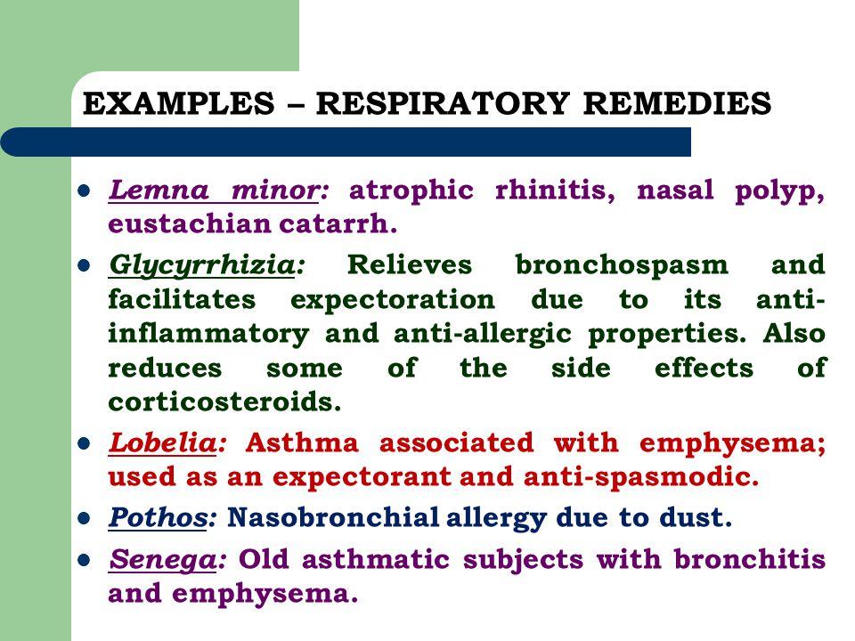 EXAMPLES – RESPIRATORY REMEDIES Lemna minor: atrophic rhinitis, nasal polyp, eustachian catarrh. Glycyrrhizia: Relieves bronchospasm and facilitates e
